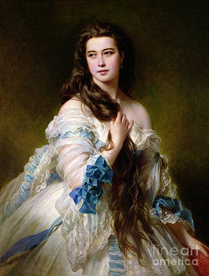 Silk Painting - Portrait Of Madame Rimsky Korsakov by Franz Xaver Winterhalter