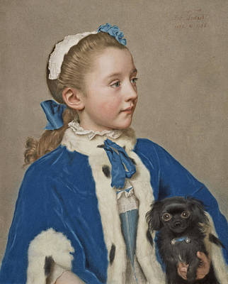 Portrait Of Maria Frederike Van Reede-athlone At Seven Years Of Age Art Print by Jean-Etienne Liotard