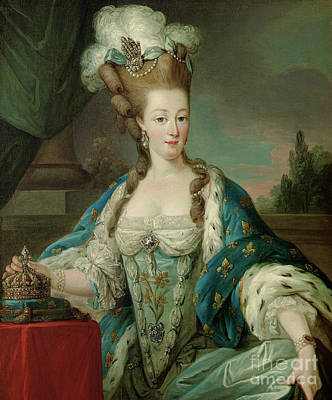 Painting - Portrait Of Marie-antoinette, Half-length, In Coronation Robes by Carle Vanloo