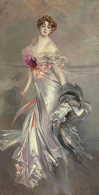 Grey Dress Painting - Portrait Of Marthe Regnier by Giovanni Boldini