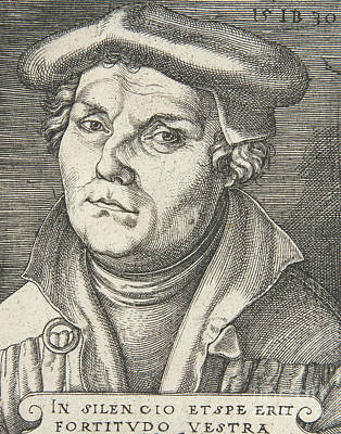 Religious Text Drawing - Portrait Of Martin Luther, 1530  by Italian School