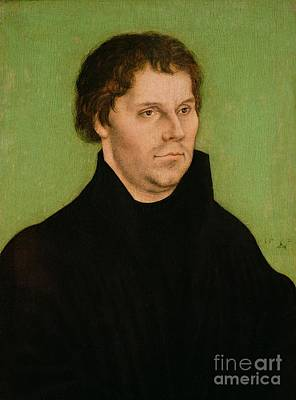 Religious Painting - Portrait Of Martin Luther by Lucas Cranach the Elder