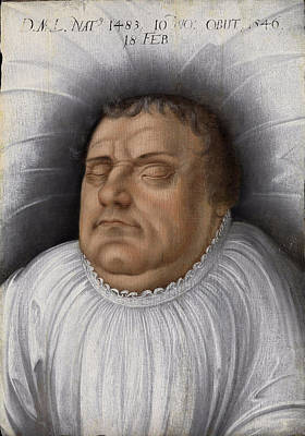 Painting - Portrait Of Martin Luther On His Death-bed by Follower of Lucas Cranach the Elder