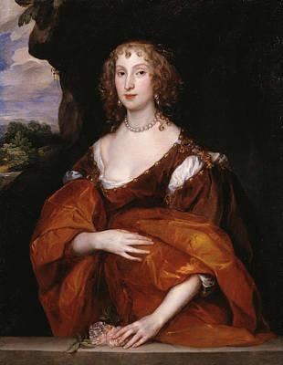 Flower Painting - Portrait Of Mary Hill, Lady Killigrew by Anthony van Dyck