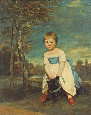 Joshua Reynolds Painting - Portrait Of Master William Cavendish Full-length Standing Astride A Black Dog In A Landscape by Joshua Reynolds