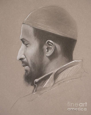 Drawing - Portrait of Muslim Man by Jonathan Wommack