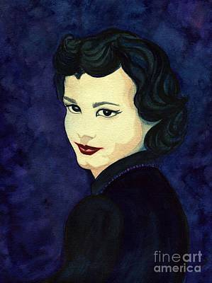 Painting - Portrait Of Nan In Blue by Janine Riley