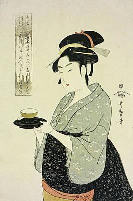 Vintage Wine Lovers Painting - Portrait Of Naniwaya Okita by Kitagawa Utamaro