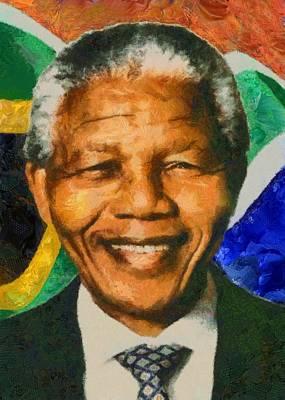 Digital Art - Portrait Of Nelson Mandela by Charmaine Zoe