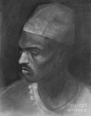 Drawing - Portrait of North African Man by Jonathan Wommack