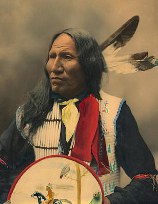 With Red Photograph - Portrait Of Oglala Sioux Chief Strikes With Nose by American School