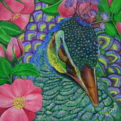 Painting - Portrait Of Peacock Sleeping In Dog Roses by Olga Hamilton