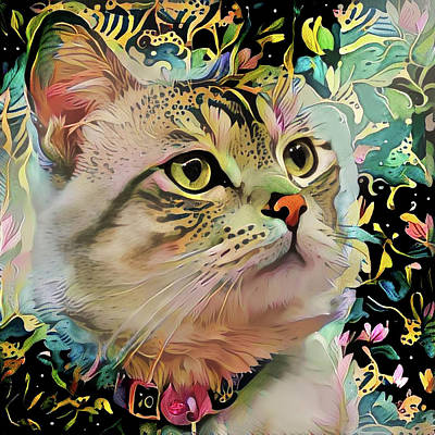 Digital Art - Portrait Of Petunia The Girly Kitty Cat by Peggy Collins