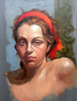 Portrait Of Phoebe Art Print by Roz McQuillan