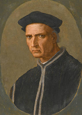 Painting - Portrait Of Piero Soderini Half Length Wearing A Black Coat And A Black Hat by Ridolfo Ghirlandaio