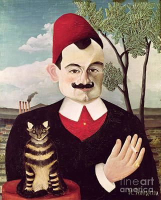 Moustache Painting - Portrait Of Pierre Loti by Henri Rousseau