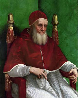 Religious Artist Painting - Portrait Of Pope Julius II - 1511 by Raphael