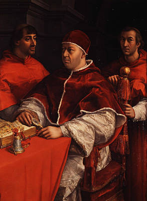 Painting - Portrait Of Pope Leo X With Cardinals Giulio De' Medici And Luigi De' Rossi  by Raphael