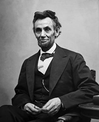 White Photograph - Portrait Of President Abraham Lincoln by International  Images