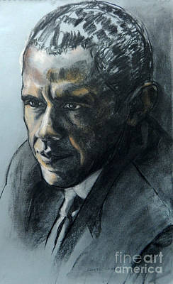 Painting - Charcoal Portrait Of President Obama by Greta Corens