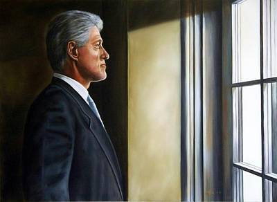 Painting - Portrait Of President William Jefferson Clinton, In Profile by RB McGrath
