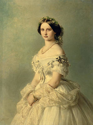 Necklace Painting - Portrait Of Princess Of Baden by Franz Xaver Winterhalter