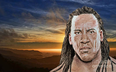 Digital Art - Portrait Of Pro Wrestler And Former World Champion Booker T At The End Of A Day by Jim Fitzpatrick