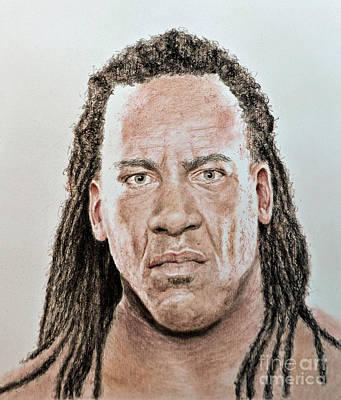 Drawing - Portrait Of Pro Wrestler And Former World Champion Booker T by Jim Fitzpatrick