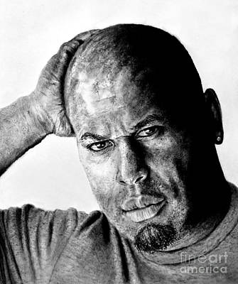 Drawing - Portrait Of Pro Wrestler And Owner Of Bryckhouse Pro Wrestling, Rycklon Stephens Black And White  by Jim Fitzpatrick