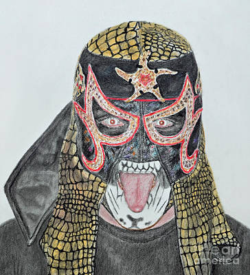 Drawing - Portrait Of Pro Wrestler Pentagon Jr  by Jim Fitzpatrick