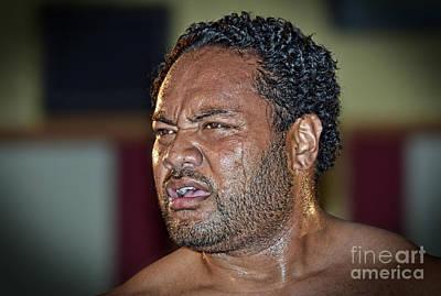 Tongan Photograph - Portrait Of Pro Wrestler Sione Finau by Jim Fitzpatrick