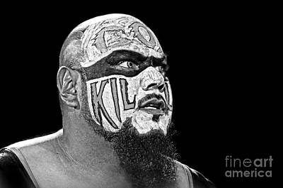 Digital Art - Portrait Of Pro Wrestler Synn Eyeing His Next Victim Black And White Version by Jim Fitzpatrick