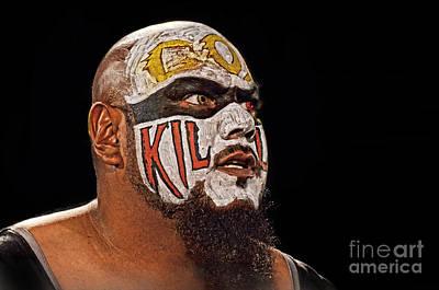 Digital Art - Portrait Of Pro Wrestler Synn Eyeing His Next Victim  by Jim Fitzpatrick
