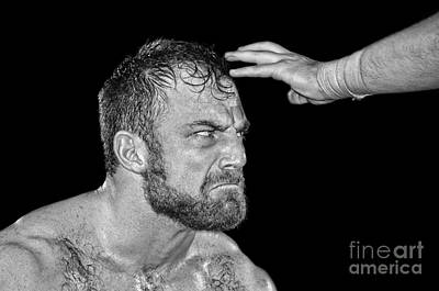 Photograph - Portrait Of Pro Wrestler Timothy Thatcher IIi Black And White Version by Jim Fitzpatrick