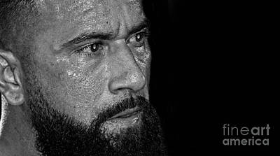 Photograph - Portrait Of Pro Wrestler Will Cuevas Black And White Version II by Jim Fitzpatrick