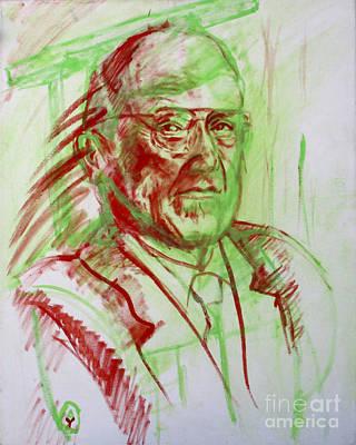 Portrait Of Prof Joshua Lederberg Art Print by Yael Avi-Yonah