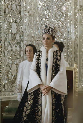 Silver Earrings Photograph - Portrait Of Queen Farah Pahlavi Dressed by James L Stanfield