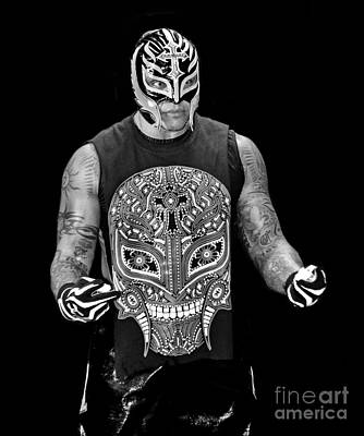 Photograph - Portrait Of Rey Mysterio Black And White Version by Jim Fitzpatrick