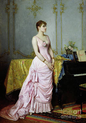 Gown Painting - Portrait Of Rose Caron by Auguste Toulmouche