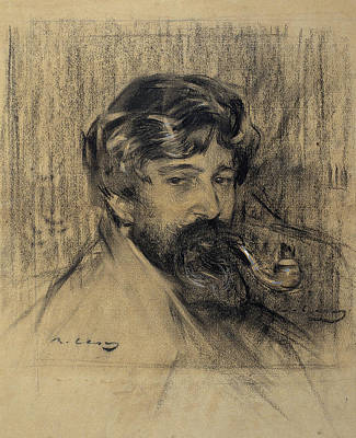 Portrait Of Santiago Rusinol Print by Ramon Casas