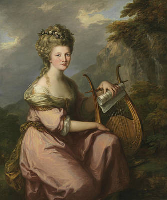 Portrait Of Sarah Harrop As A Muse Art Print by Angelica Kauffman