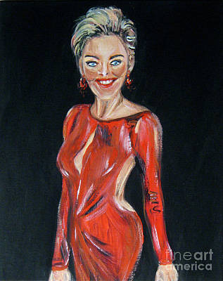 Painting - Portrait Of Sharon Stone by Oksana Semenchenko