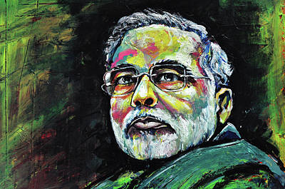 Painting - Portrait Of Shri Narendra Modi by Mrutyunjaya Dash