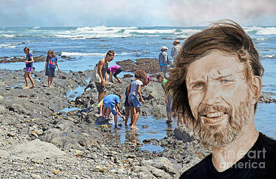 Hall Of Fame Drawing - Portrait Of Singer, Songwriter, Musician And Actor Kris Kristofferson At The Beach by Jim Fitzpatrick