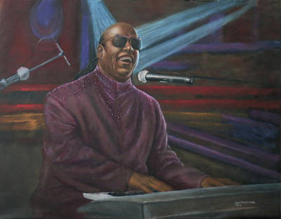 Black History Painting - Portrait Of Stevie Wonder by Sylvia Castellanos