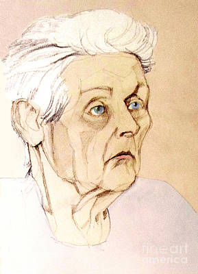 Painting - Pastel Colored Portrait Of An Old Lady by Greta Corens