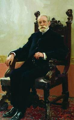 Azov Painting - Portrait Of The Chairman Of The Azov Don Commercial Bank In St Petersburg A B Nenttsel 1908 by Repin Ilya
