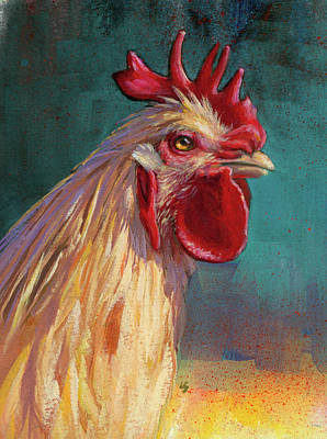 Art Print featuring the painting Portrait Of The Chicken As A Young Cockerel by Lesley Spanos