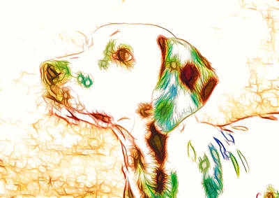 Retro Look Painting - Portrait Of The Dog 1 by Lanjee Chee