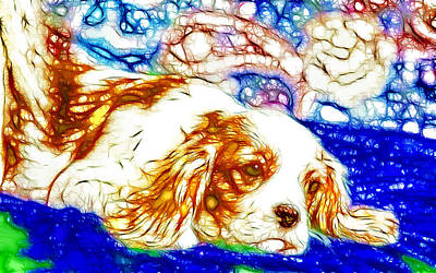 Retro Look Painting - Portrait Of The Dog 2 by Lanjee Chee